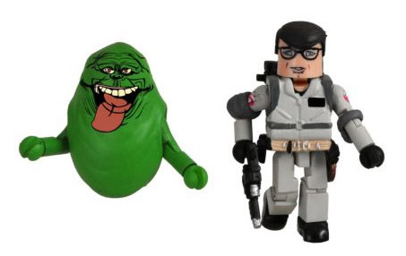Slimer and Louis (in Ghostbusters gear)